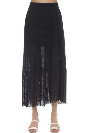 Rokh Fringed Nylon Knit Midi Skirt