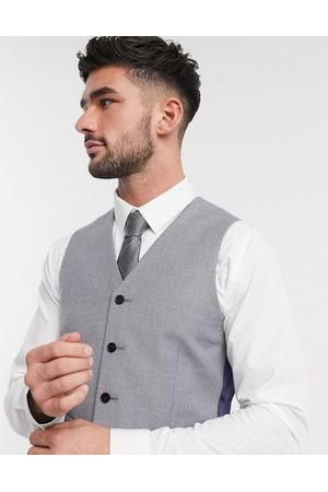 ASOS – Mellangrå kostymväst med smal passform-Marinblå