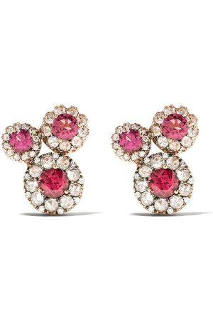 SELIM MOUZANNAR 18kt diamond rhodolite Beirut earrings