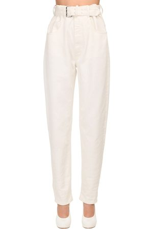 Maison Margiela High Waist Belted Cotton Denim Jeans