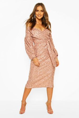 Boohoo Occasion Sequin Off The Shoulder Midi Dress, Pink