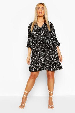 Boohoo Plus Polka Dot Kimono Sleeve Smock Dress, Black