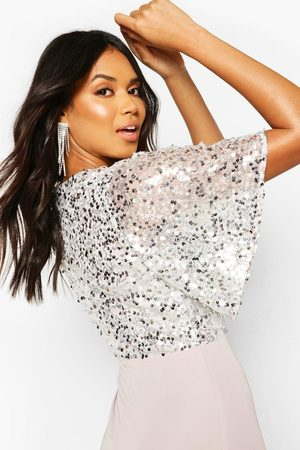 Boohoo Occasion Sequin Bodice Angel Sleeve Maxi Dress, Grey