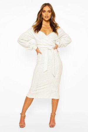 Boohoo Occasion Sequin Off The Shoulder Midi Dress, White