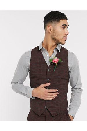 ASOS Wedding – Smårutig kostymväst i vinrött och grått med extra smal passform
