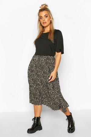 Boohoo Plus 2 In 1 Printed Pleated Skater Dress, Black