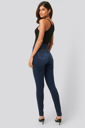 NA-KD Kvinna High waist - Skinny High Waist Open Hem Jeans Tall