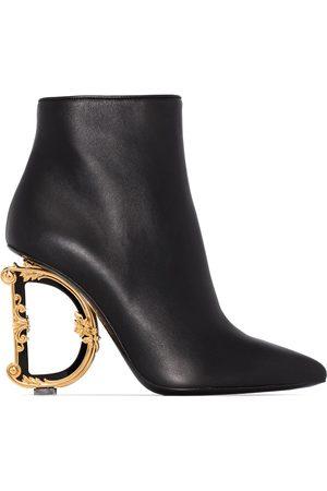 Dolce & Gabbana Black DG 105 metal heel leather ankle boots