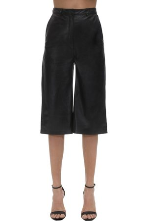 In the Mood for Love Cropped Leather Wide Leg Pants