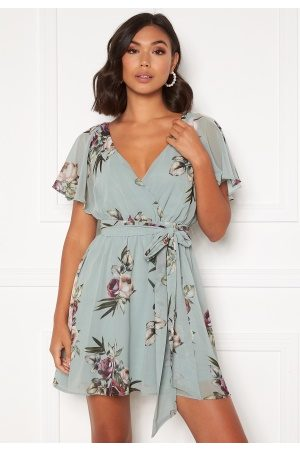 Goddiva Floral Flutter Dress Duck Egg S (UK10)