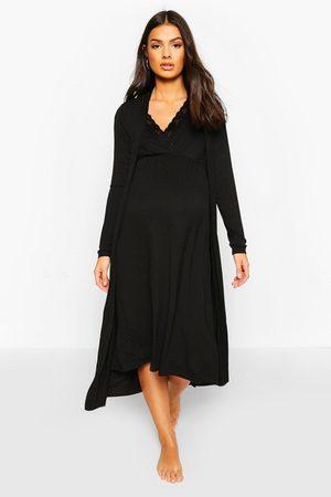 Boohoo Maternity Nursing Nightie & Robe Set, Black