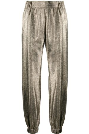 Saint Laurent Metallic-effect tapered trousers