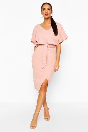 Boohoo Kimono Tie Belt Midi Dress, Pink