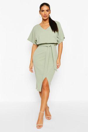 Boohoo Kimono Tie Belt Midi Dress, Green