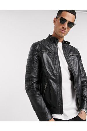 Barneys Originals – Bikerjacka i äkta läder med 4 fickor