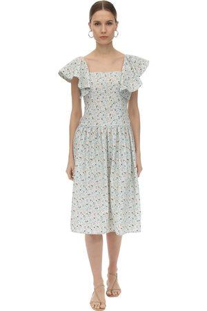 BATSHEVA Printed Cotton Midi Dress W/ Back Bow