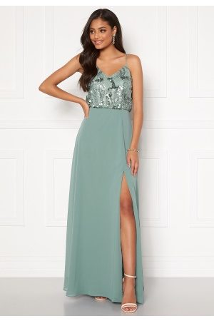 Moments New York Kvinna Festklänningar - Elouise Sequin gown Dusty green 34