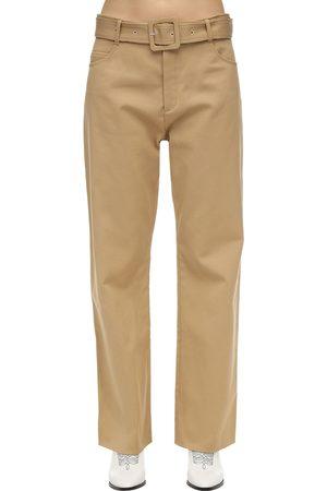 Courrèges Kvinna Utsvängda byxor - Belted Cotton Twill Wide Leg Pants