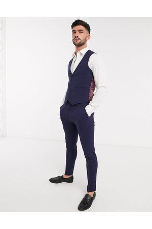 ASOS Man Kostymer - – Marinblå kostymväst med fyrvägsstretch och supersmal passform