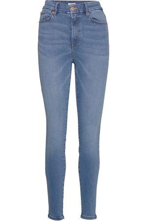 Lindex Kvinna Skinny - Trousers Denim Clara Blue Skinny Jeans Blå