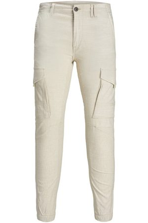 Jack & Jones Paul Flake Linen Akm 980 Cargobyxor Man Grå