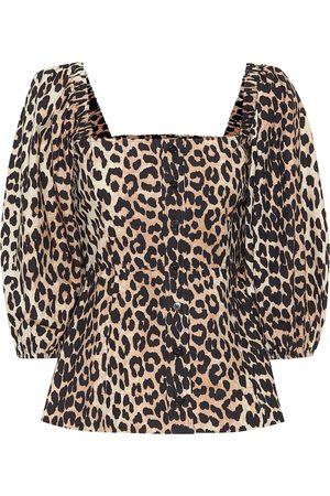Ganni Leopard-print cotton blouse