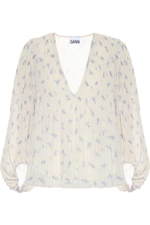 Ganni Pleated floral georgette blouse