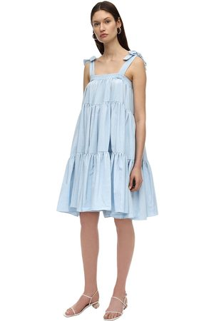 BATSHEVA Amy Ruffled Moiré Midi Dress