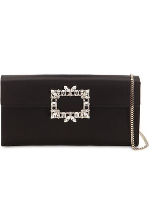Roger Vivier Trianon Crystal Buckle Satin Clutch