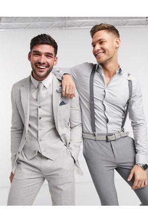 ASOS Wedding – Grårutig kavaj i stretchig bomulls- och linneblandning med supersmal passform, del av kostym