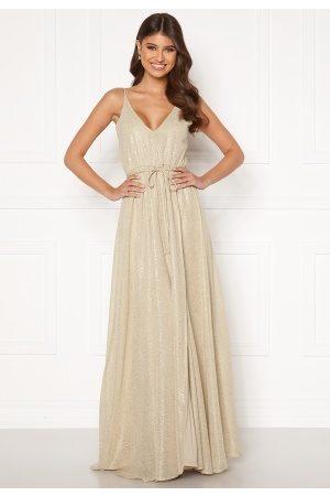 BUBBLEROOM Nionne sparkling chiffon prom dress Gold-coloured / Champagne 40