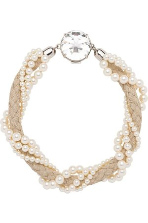 Miu Miu Pearl embellished cord necklace