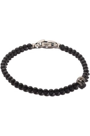 David Yurman Man Armband - Spiritual Beads black onyx and silver skull bracelet