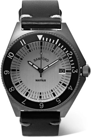 Bamford Watch Department Man Klockor - Mayfair Brushed Stainless Steel And Leather Watch