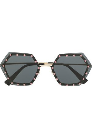 VALENTINO Crystal embellished hexagonal shape sunglasses