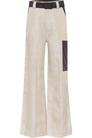 Ganni High-rise wide-leg linen pants