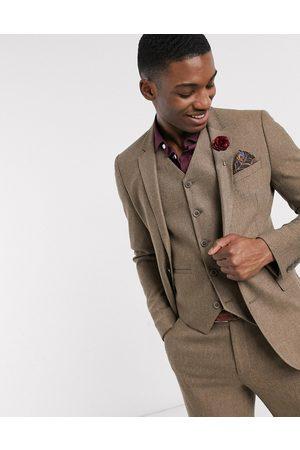 ASOS – Bröllop – Kamelfärgad, rutig kostymjacka i ullmix med extra smal passform