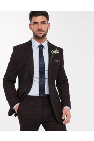 ASOS Wedding – Vinröd kavaj i ullimitation med extra smal passform