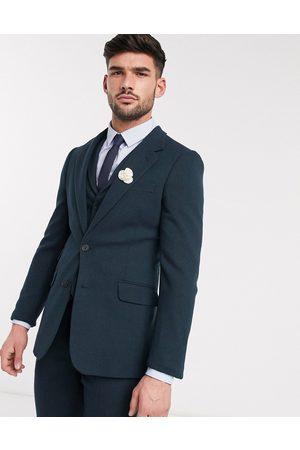 ASOS Wedding – Mörkgrön kavaj i ullblandad twill med supersmal passform, del av kostym