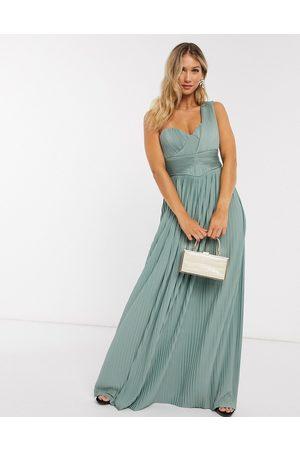 ASOS DESIGN Kvinna Festklänningar - – Mintfärgad maxiklänning med en bar axel och plisserad panel