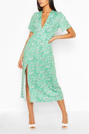 Boohoo Tall Floral Midi Dress, Green