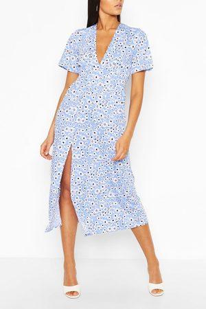Boohoo Tall Floral Midi Dress, Blue