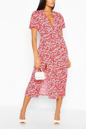 Boohoo Tall Floral Midi Dress, Red