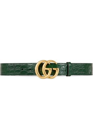 Gucci Man Bälten - GG Marmont caiman belt with shiny buckle