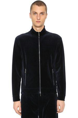Armani Man Sweatshirts - Zip-up Cotton Velvet Sweatshirt