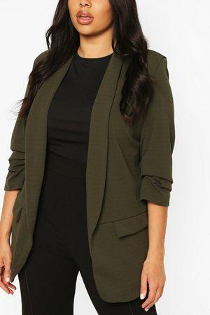 Boohoo Plus Ruched Sleeve Blazer, Green