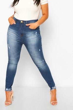 Boohoo Plus Super Distressed Raw Hem Skinny Jeans, Blue