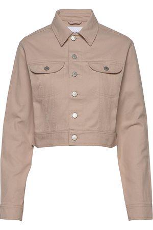 Calvin Klein Kvinna Jeansjackor - Cropped Twill Jacket Jeansjacka Denimjacka Beige