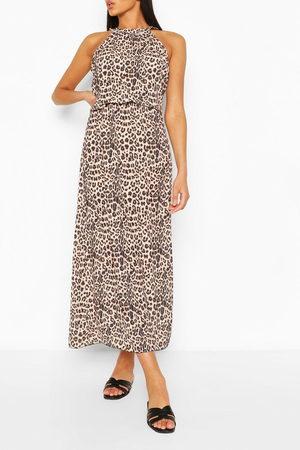 Boohoo Leopardmönstrad Maxiklänning Med Hög Krage, Brown