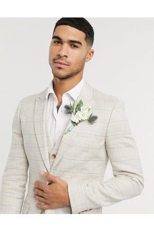 ASOS Wedding – Ljusgrå, rutig kavaj i stretchig bomulls- och linneblandning med supersmal passform, del av kostym-Sandfärgad